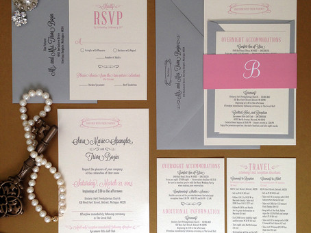 Grey + Blush Wedding Invitation Package