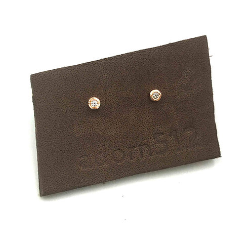 Adorn512 Rose Gold CZ Stud Earrings
