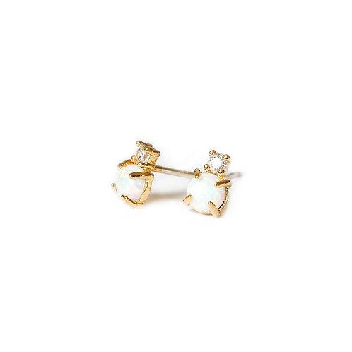 Adorn512 Opal CZ Stud Earrings