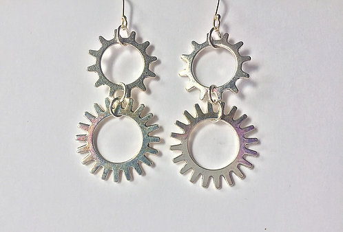 Gear Drop Earrings by Lynne Maslowski