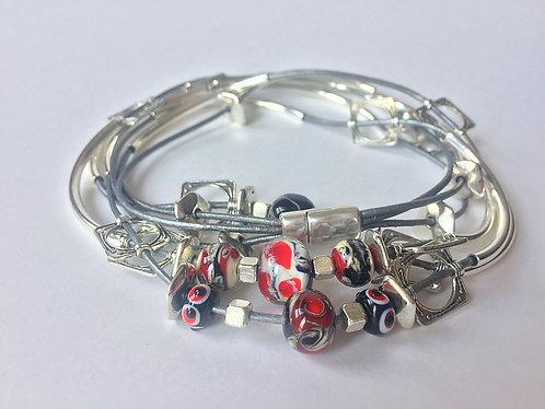 Beaded Leather Wrap Bracelet/Necklace by Lynne Maslowski