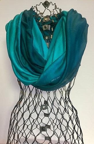 Blue Pacific Cashmere Silk Ombre Scarf