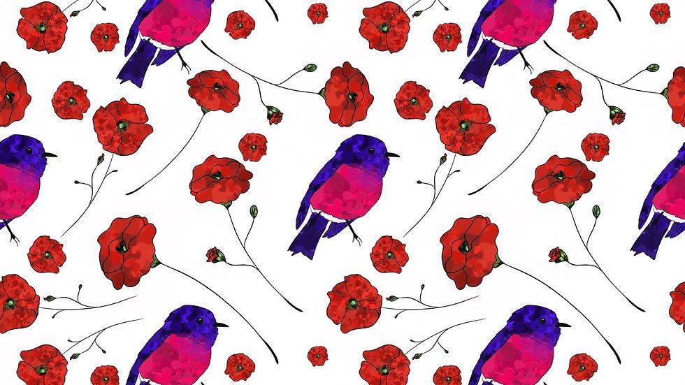 Summer Poppy Birds