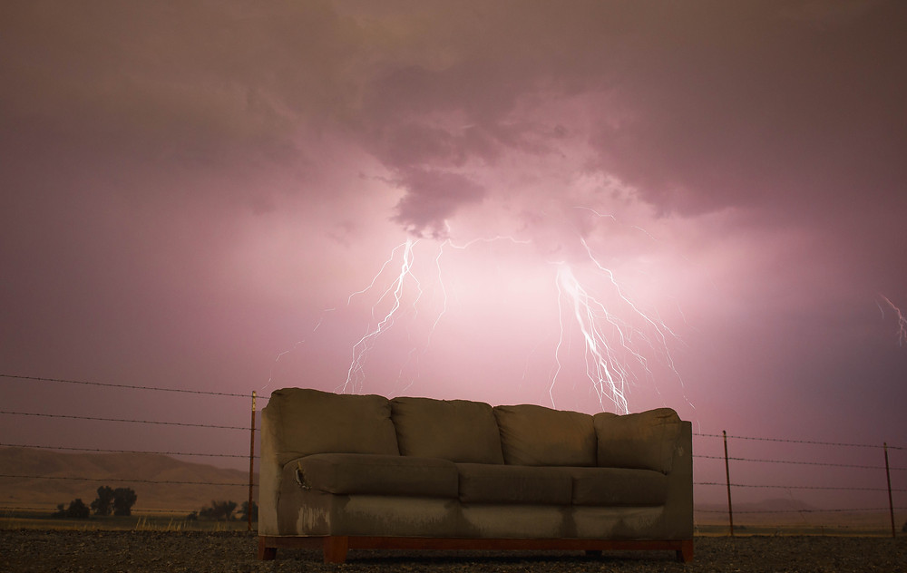 Lightening bolts over a couch