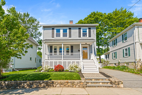 100 Derby Road | Melrose, MA Listed at: $669,900  3 Bedrooms 2 Full Bathrooms 1,430  Sq. Ft.  Timelessly detailed, sun-light filled home has been stewarded meticulously and attentively crafting a home designed for today. The remodeled open-concept Kit|DR, fabulous entertaining|cooking space, features granite, dining peninsula, stainless appls, custom cabinetry & contemporary lighting and appointments, flows into LR which hosts a wood burning fireplace. Second level holds 3BRs, two of generous scale with good closets and a renovated full bath. Evoking original charm with modernity and thoughtfully detailed, this bath features a marble flr & subway tile; a shower with natural pebble stone flr, slate tile and teak bench; plus storage. Newer 3/4 bath on the first adjoins the mud-room. 1C gar; ample storage throughout; radiant heat in Kit|Baths; potential expansion LL. Lovely yard with nice plantings, room for a garden; enjoy evenings overlooking the leafy streetscape from your front porch. Nearby Pine Banks, Oak Grove, commuter rail and Melrose's bustling downtown amenities. Sweet!
