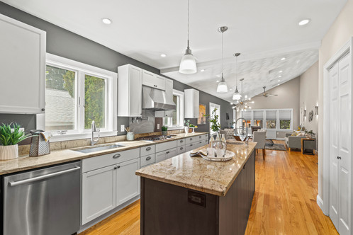 330 Grove St. | Melrose, MA SOLD:$915,000  4 Beds 2 Full | 1 Half Baths 2,077 Sq. Ft.   Seeking flex space, open concept living and quality craftsmanship? This classically detailed home remains true to its origins of scale while seamlessly weaving an expansive addition that created a kitchen|dining|family room and first floor primary suite. Thoughtfully designed, the small details set this property apart. High efficiency HVAC; solar panels (owned); vaulted, elevating ceiling in the main living space; 2 electric car charging + more.