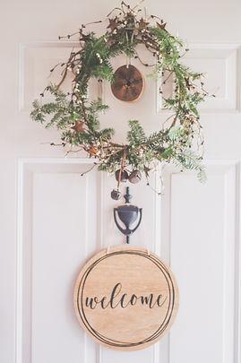 Front Door with Welcome Wreath
