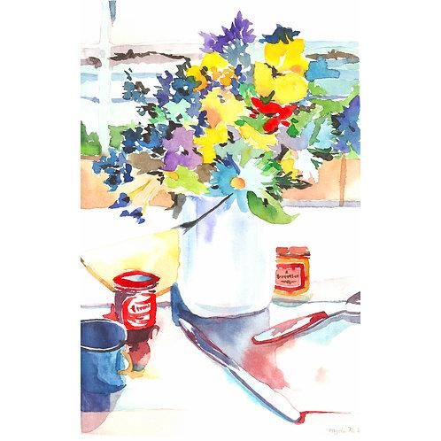 Aquarela Vaso com Flores