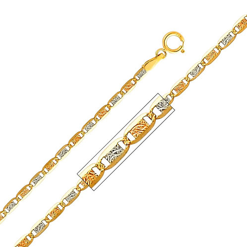 14k Tri-Tone (White, Yellow and Rose) Gold 2.1-mm Valentino Chain Necklace