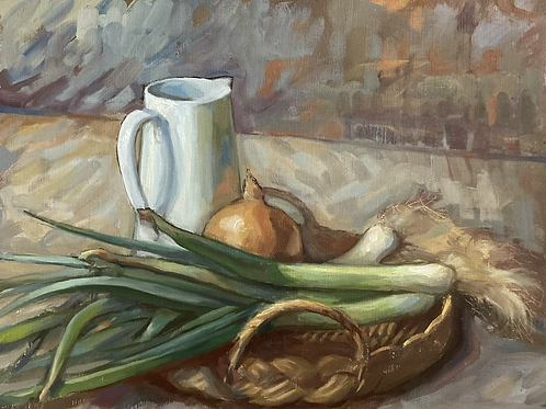 Leeks with onion and jug