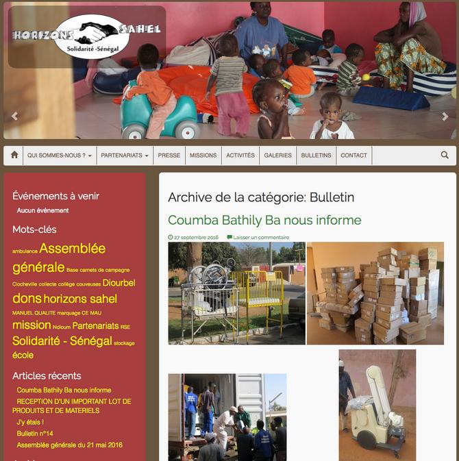 Le bulletin de notre partenaire Horizons Sahel