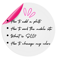 Sticky note graphic, Wix Traing Page, DTB Web Design