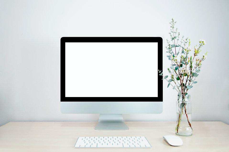Mockup desktop computer, eucalyptus leav