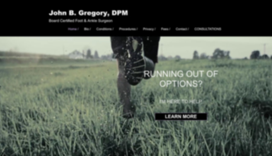 John B Gregory, DPM for Web Design by Dena Testa Bray
