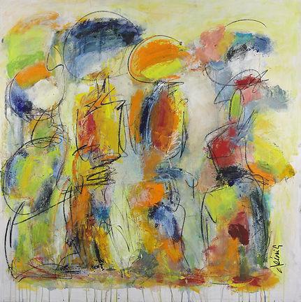 Omniprésence - Acrylique et pastels sur toile - 48 x 48 po