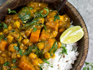 Delicious Chick pea & sweet potato curry