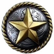 Silver/Gold Star Rope Edge Concho