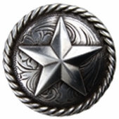 Silver Rope Edge Star Concho