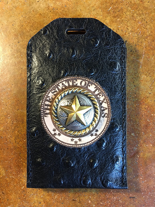 Black Ostrich Leather ID/Badge Holder