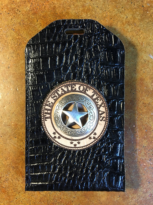 Black Gator Leather ID/Badge Holder