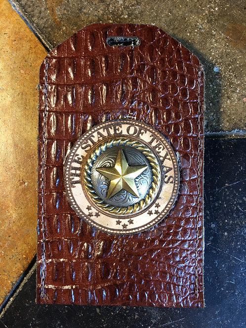 Brown Gator Leather ID/Badge Holder