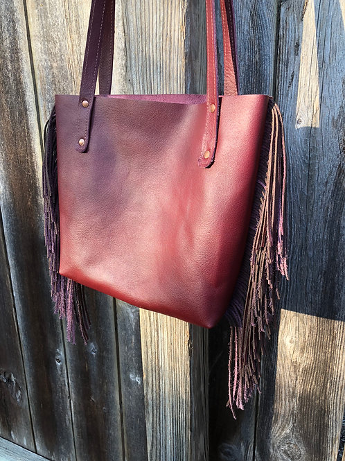 Burgundy Wine Leather Tote