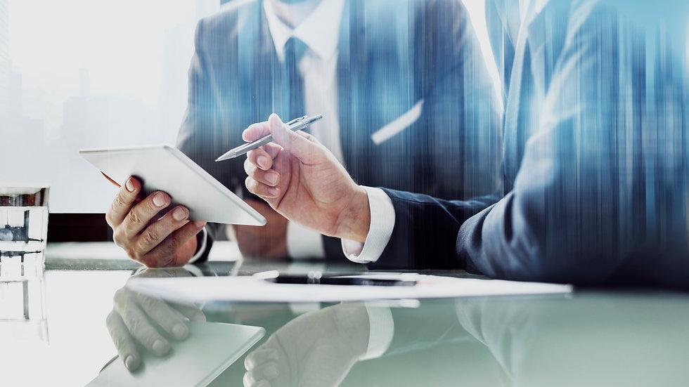 corporate-businessmen-working-tablet-off