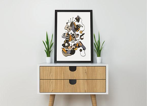 "Cuadro Abstracto ""Nocturno I"" - Artista Peruana Joana Mendiola"