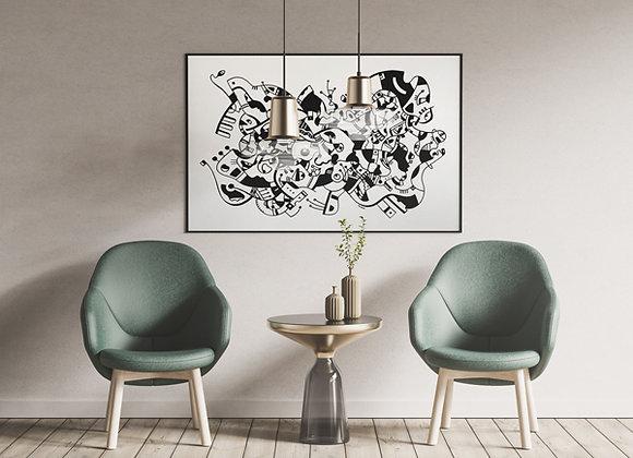 """Cuadro Abstracto """"Fiesta"""" - Artista Peruana Joana Mendiola"""