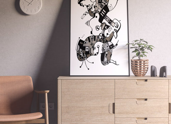 "Cuadro Abstracto ""Danza"" - Artista Peruana Joana Mendiola"
