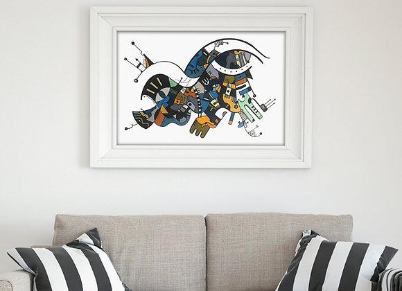 """Cuadro Abstracto """"Mar"""" - Artista Peruana Joana Mendiola"""