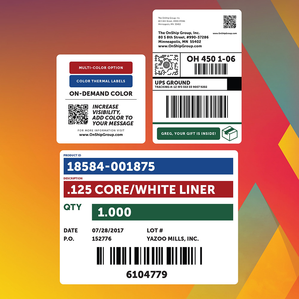 OnShip Personalized Color Shipping Labels