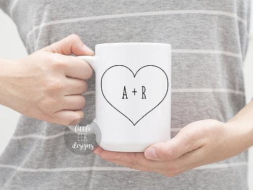 Custom Couple Initials Heart 15 oz Coffee Mug