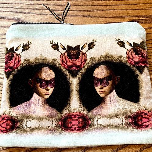 Masked lady faux velvet Purse