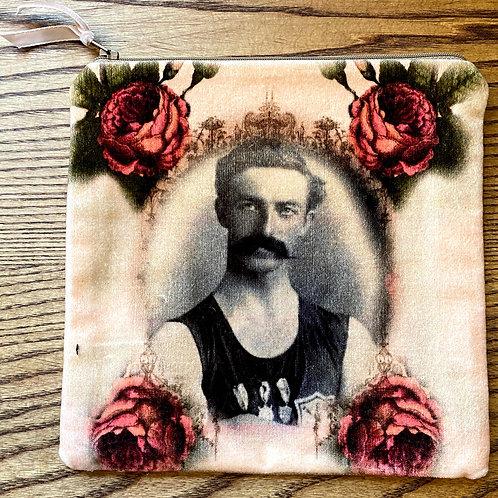 Moustached Man  velvet Pouch