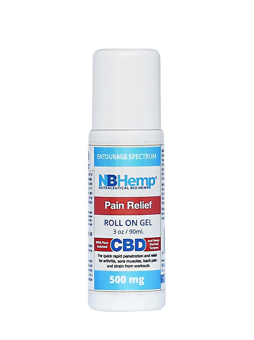 Pain Relief CBD Roll On Gel (500 Mg), 3 Oz (90ml), THC Free Entourage Spectrum