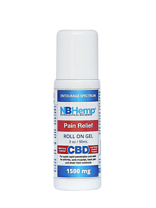 Pain Relief CBD Roll On Gel (1500 Mg), 3 Oz (90ml), THC Free Entourage Spectrum