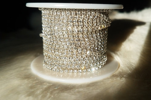 Crystal Banding Silver Chain Ss6