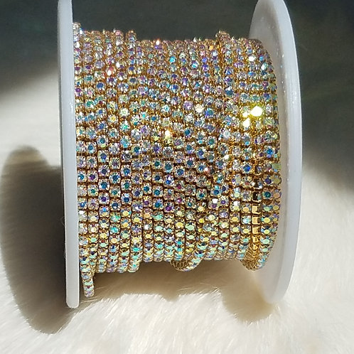 Crystal AB Banding Gold Chain Ss6