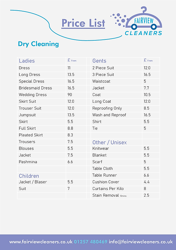Fairview Cleaners Dry Cleaning Price Lis
