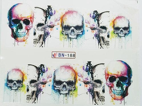 Skull - nail art water decal