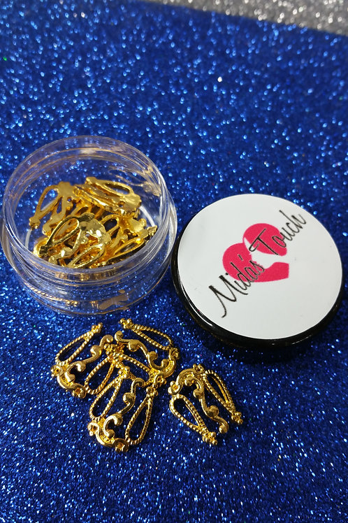 TU200 Gold Nails Short Charms  ( 6pc )