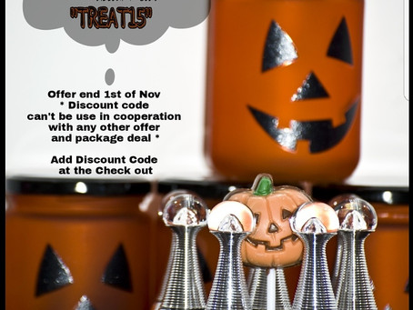 "15% Discount Halloween Treat Add "" TREAT15 "" at the Check out"