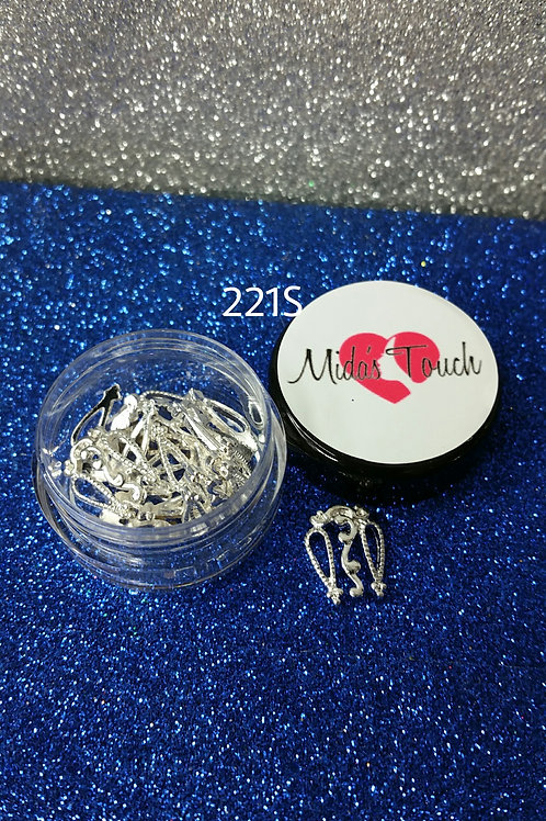 221S Silver Nails Charms ( 6pc )