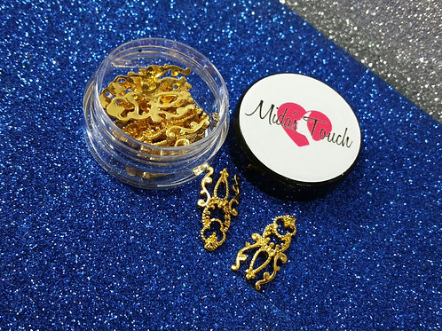 Gold Nails Long Charms  ( 6pc )