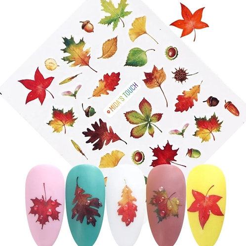 Autumn leaf water decal