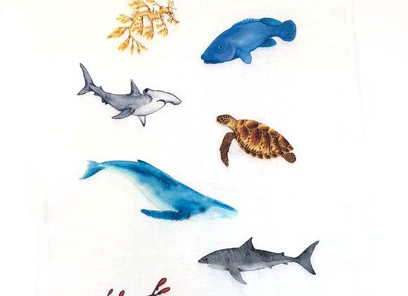 Marine wildlife Tea Towel