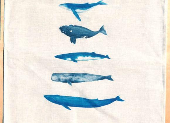 Whale Tribe 100% Linen Tea Towel
