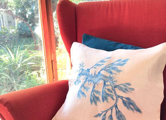 Blue Leafy Seadragon Cushion Cover