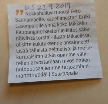 Palautetta Mikkelin solistiesiintymisestä